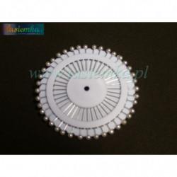 szpilki okrągłe białe krótkie kod 2244