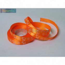 tasiemka satynowa 12mm  druk owca pomarańcz ciemny