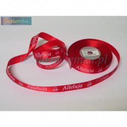 tasiemka satynowa 12mm druk alleluja czerwona