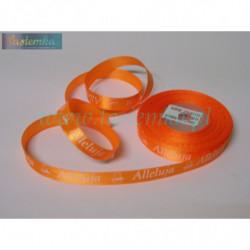 tasiemka satynowa 12mm druk alleluja pomarańcz