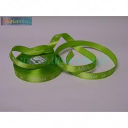 tasiemka satynowa 12mm druk alleluja zielony jasny
