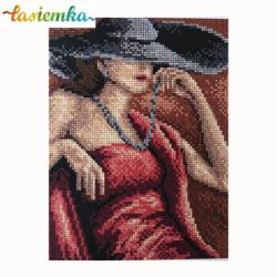kanwa 18x24 kobieta w kapeluszu wz 5002